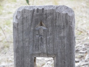 One of the direction markers close up